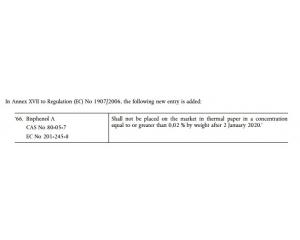欧盟在热敏纸上禁用双酚A(BPA)