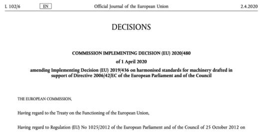 机械指令2006/42/EC:欧盟委员会更新了欧洲协调标准清单